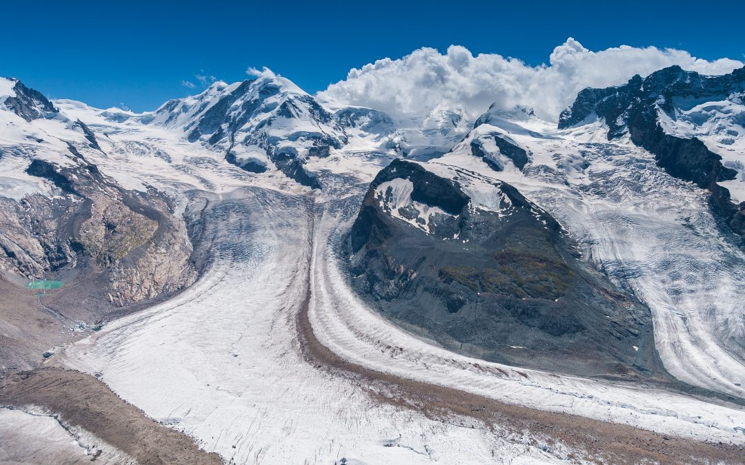The White Blanket Covering the Swiss Alps Disappears as the Climate Heats Up