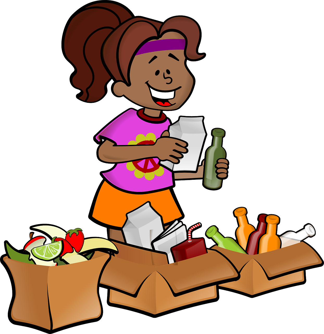 cartoon woman segregating trash