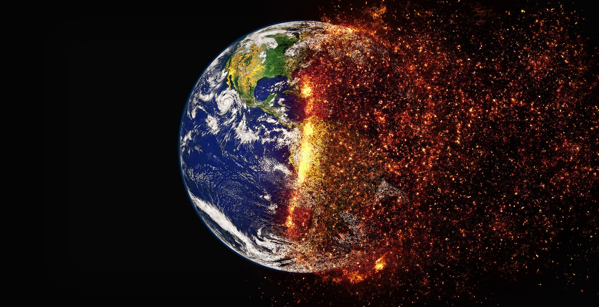 planet earth burning due to climate change