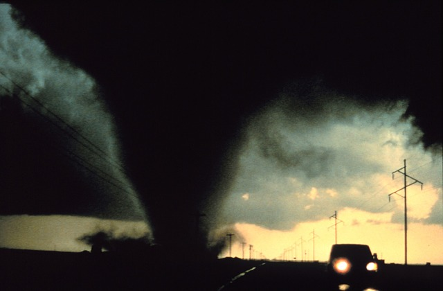 tornado weather storm in the road